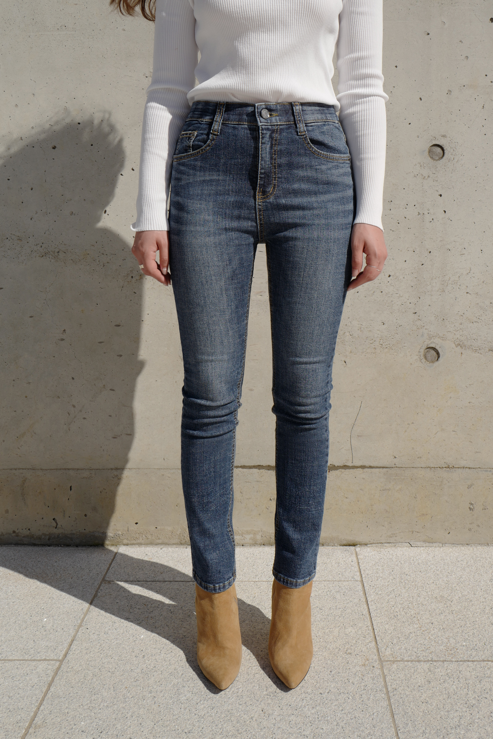 [CONA 9025] Dark Banding Washed Jean